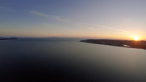 Thumbnail for Puget Sound Sunset Aerial By Bellingham Washington