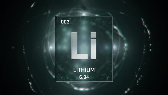 Thumbnail for Lithium as Element 3 of the Periodic Table 3D animation on green background