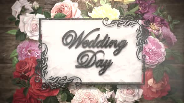 Wedding Day and vintage frame with summer flowers