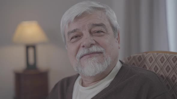 Thumbnail for Close-up of Grey-haired Caucasian Man with Brown Eyes Smiling at Camera. Portrait of Happy Male