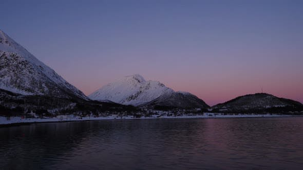 Thumbnail for Panoramic View Of Evening Mountains And Quite Fjord