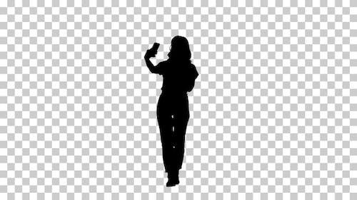 Silhouette girl walking, Alpha Channel