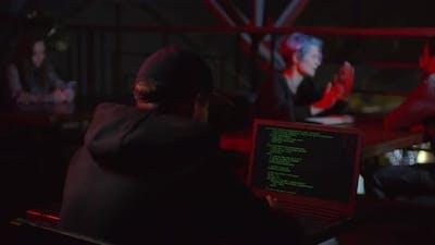 Hacker Coding in Bar
