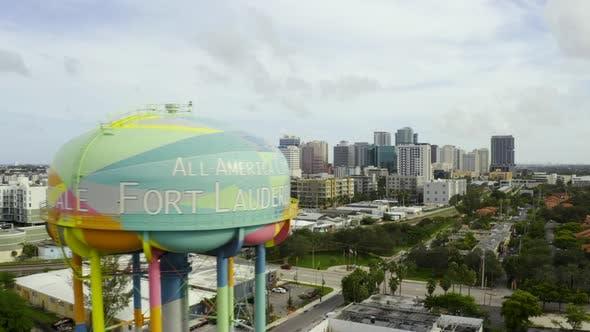 Aerial Reveal Downtown Fort Lauderdale Fl Behind Water Tower
