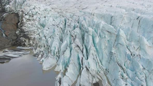 Svinafellsjokull Glacier and Ash. Iceland. Aerial View