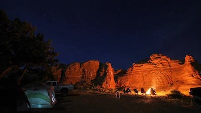 Time Lapse at Night of Camp Site.