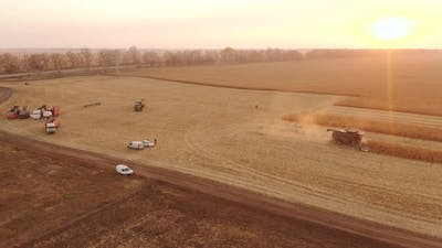 Top View of Harvesting Equipment on the Field