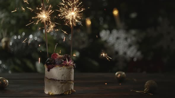 Thumbnail for Christmas Cake with Sparklers