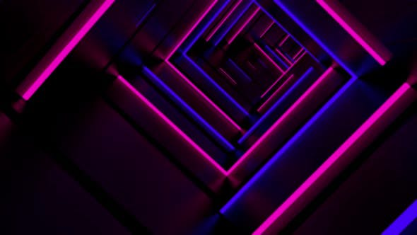 Thumbnail for Running In Neon Light Tunnel HD