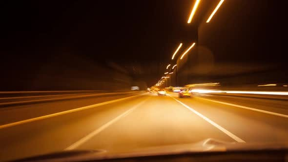Thumbnail for Timelapse on a motorway at night