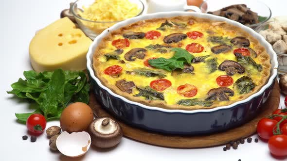 Thumbnail for Baked Homemade Quiche Pie in Ceramic Baking Form Eggs and Cream