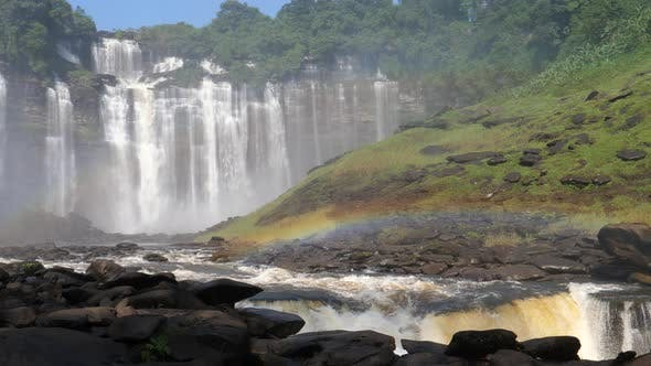 Kalandula Falls river with a rainbow in Angola