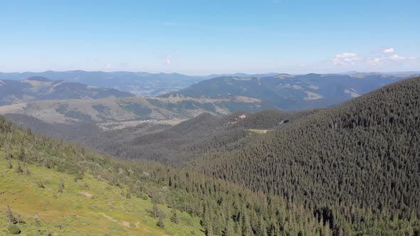 Thumbnail for Aerial Panoramic View of Green Mountain Range and Hills in Valley of Carpathian