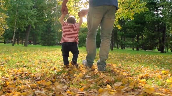 Thumbnail for Father Walking with Little Baby in Park