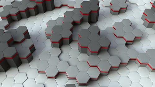 Hexagon White Red 3D