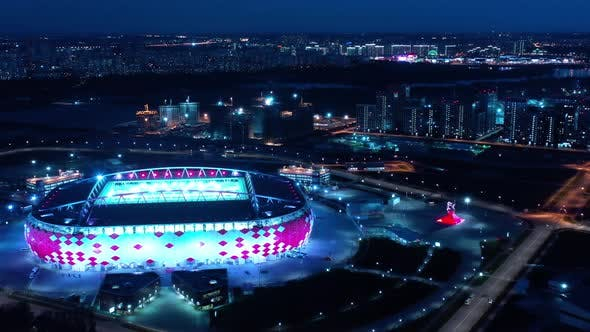 Freeway Intersection and Football Stadium Spartak Moscow Arena
