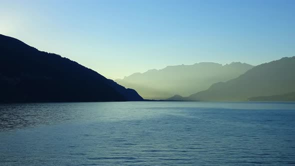 Time lapse view lake Thun and mountains of Swiss Alps in city Spiez