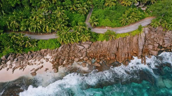 Thumbnail for Aerial Drone Top Down Footage of Rocky Tropical Coastline with Ocean Waves and Palm Trees at Mahe