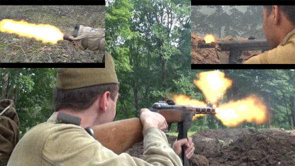 Thumbnail for Red Army Soldiers Shooting with Machine Pistole