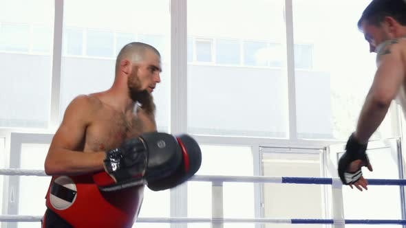 Thumbnail for Shot of Two Male Mma Fighters Practicing Together