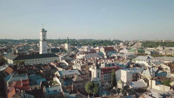 Thumbnail for Aerial City Lviv, Ukraine, European City, Popular Areas of the City, Town Hall