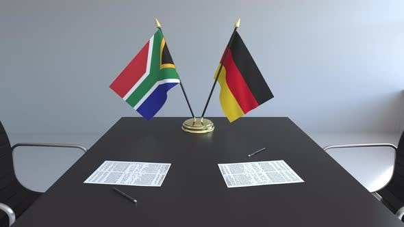Thumbnail for Flags of South Africa and Germany on the Table