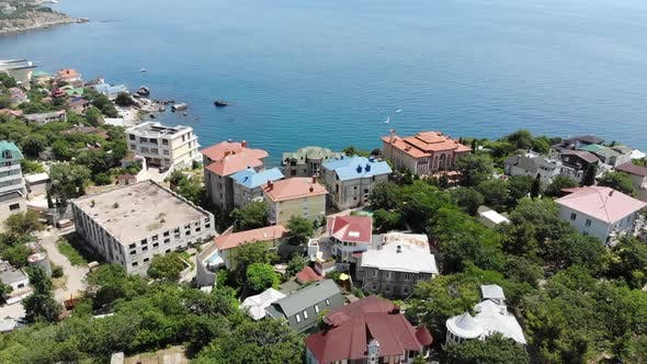 View of the Foros Resort Town From a Height