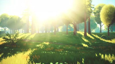 Cartoon Green Forest Landscape with Trees and Flowers