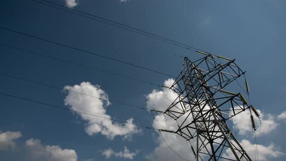 Thumbnail for Power Transmission Lines High Voltage Electricity Grid with Cloudy Blue Sky on Background
