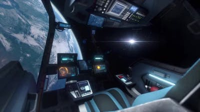 Spaceship Cockpit Interior Approaching Planet Earth