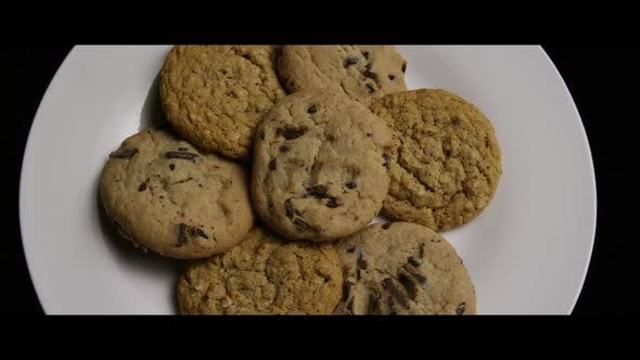Cinematic, Rotating Shot of Cookies on a Plate
