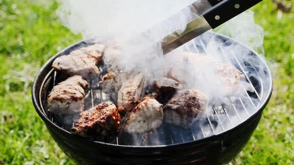 Thumbnail for Barbecue Grill mit Feuer auf der Natur