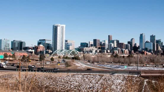 Thumbnail for Denver Colorado Usa Skyline Timelapse Sunny Winter Day