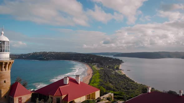 Barrenjoey Lighthouse. A Beautiful Place, a Picturesque Rock in the Ocean, on Which There Is a