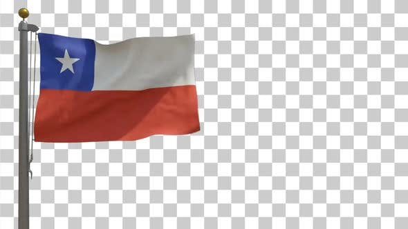 Chile Flag on Flagpole with Alpha Channel