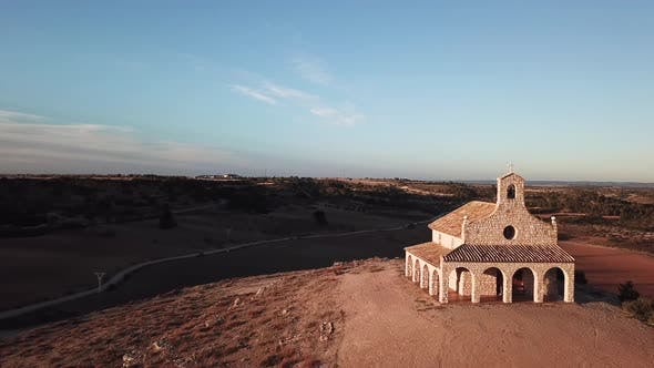 Thumbnail for Aerial View of a Hilltop Church Near Madrid. Spain in the Fall