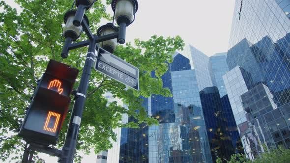 Thumbnail for Lamp post near modern buildings