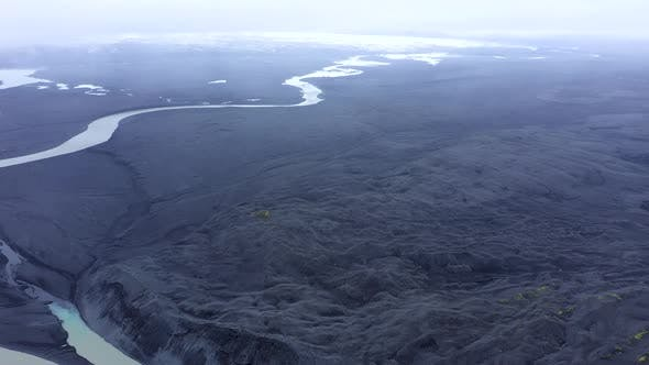 Flying Above a Glacial River System of Iceland