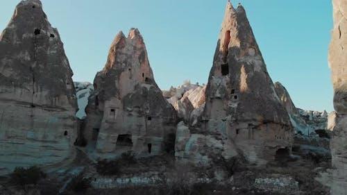 Aerial View of Fairy Chimneys Valleys in Cappadocia Nevsehir Turkey