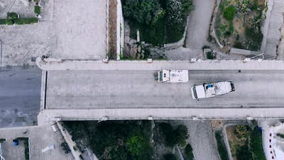 Top View Sweeper Cleans Street From Garbage, Italy