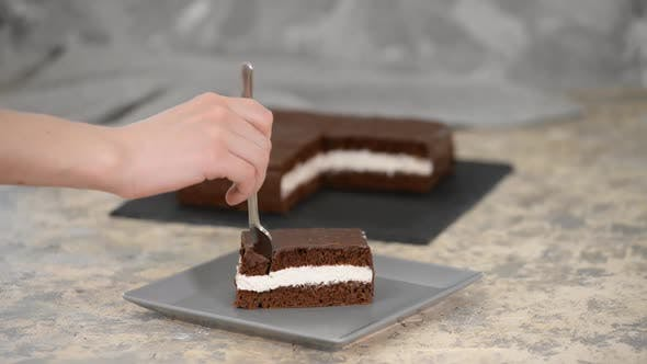 Thumbnail for Women Eating Homemade Piece of Chocolate Cake