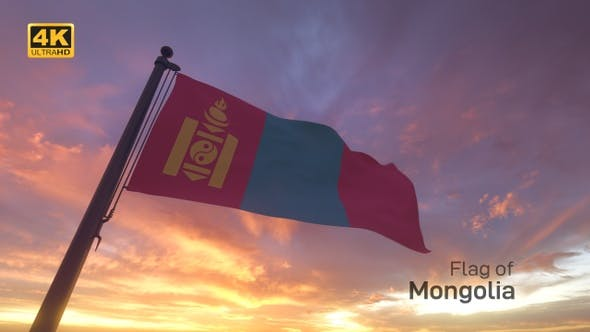 Thumbnail for Mongolia Flag on a Flagpole V3 - 4K