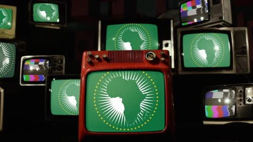 Flag of the African Union and Retro TVs.