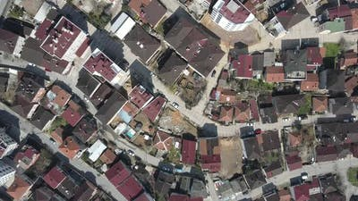 Aerial View Neighbourhood Houses Roof