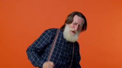 Senior Man Listening Music Dancing Disco Fooling Around Having Fun Expressive Gesticulating Hands