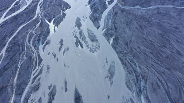 Aerial Drone View of Glacial River System of Iceland, Melt Water from Glaciers, Climate Change