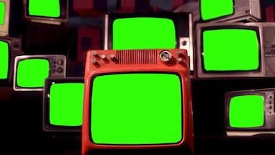 Vintage TVs Green Screen.