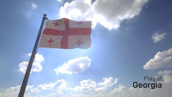 Thumbnail for Georgia Flag on a Flagpole V4