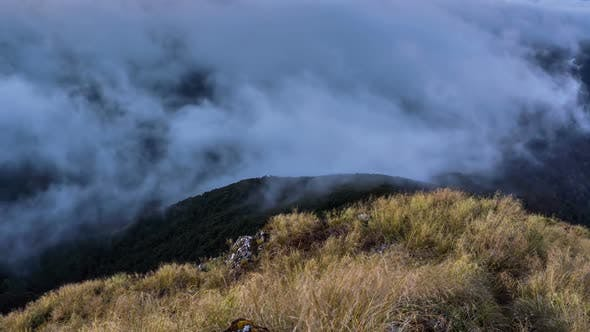 Thumbnail for Foggy Clouds Moving over Mountains Ridge in New Zealand Nature