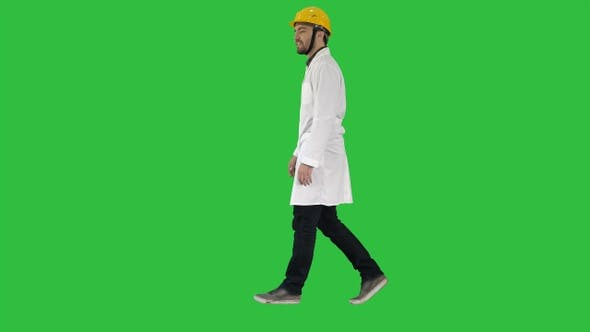 Thumbnail for Walking engineer on a Green Screen, Chroma Key